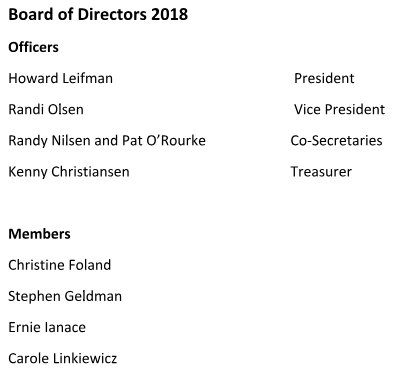 Board of Directors 2018 Officers Howard Leifman				 President Randi Olsen					 Vice President Randy Nilsen and Pat O'Rourke		Co-Secretaries Kenny Christiansen				Treasurer  Members Christine Foland Stephen Geldman Ernie Ianace Carole Linkiewicz
